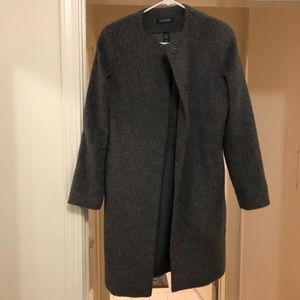 Ralph Lauren gray collarless wool coat
